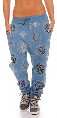 malito Damen Jogginghose mit Knopfleiste | Sporthose mit Print | Baggy zum  Tanzen | Sweatpants - Trainingshose 3381 (beige): Amazon.de: Bekleidung
