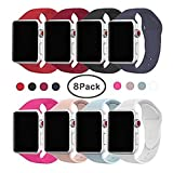 VATI Band for Apple Watch Series 3 Bands, Soft Silicone Replacement Sports Band for Apple Watch Band 38mm 2017 Series 3 Series 2 Series 1,8 Pack M/L Size
