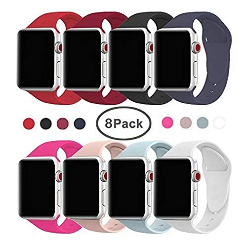 VATI Band for Apple Watch Series 3 Bands, Soft Silicone Replacement Sports Band for Apple Watch Band 38mm 2017 Series 3 Series 2 Series 1,8 Pack M/L Size by VATI