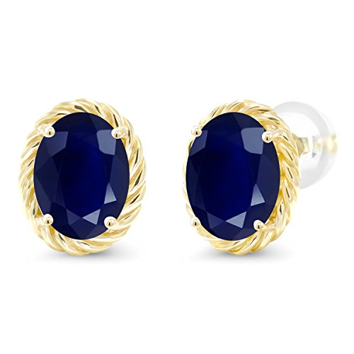 Gem Stone King 3.58 Ct Oval 8x6mm Blue Sapphire 14K Yellow Gold Twist Stud Earrings
