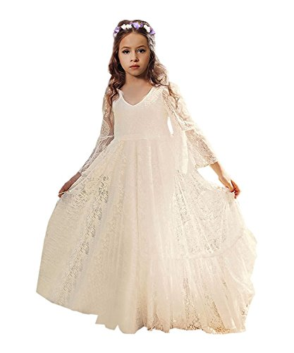Fancy A-line Lace Flower Girl Dress 2-12 Year Old (Size 10, Ivory)