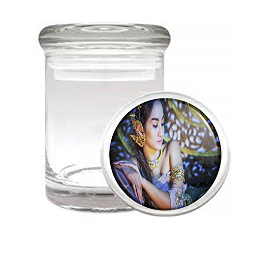 """Medical Glass Stash Jar Thai Thailand Pin Up Girls Model S4 Air Tight Lid 3"""" x 2"""" Small Storage Herbs & Spices"""