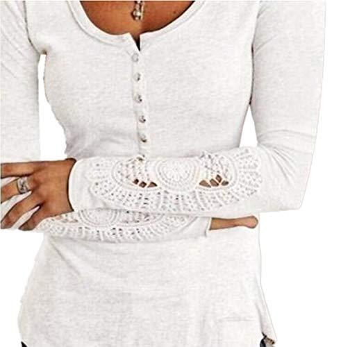 pissure Hauts Tee Chemisiers Jumpers Dentelle Blouse Blanc Femmes Printemps et Shirt Longues Automne Tops Manches T Slim 7wg6IAqO