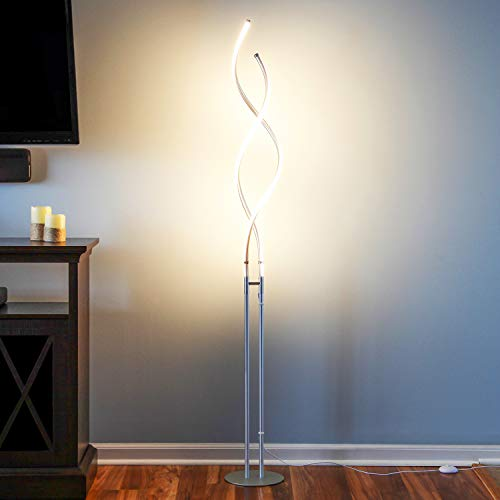 Brightech Embrace – Modern, 40 Inch Tall Lamp for Living Rooms - Adjustable to 66'' LED Floor Lamp – Dimmable, Standing Light for Bedroom, Office – Silver Pole by Brightech (Image #8)