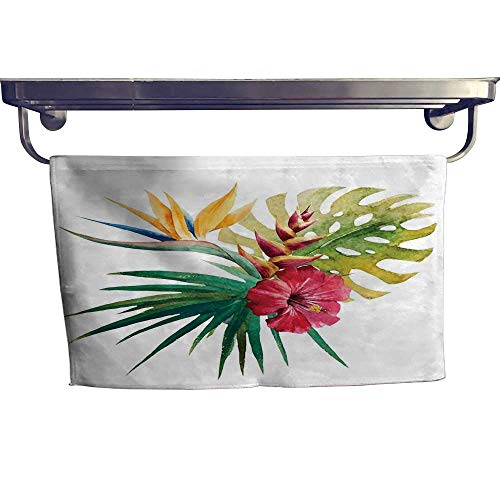 (alisoso Floral Sports Towel Set Wild Tropical Orchid Flower with Large Leaves Exotic Tropic Petals Picture Handkerchief Set W 8