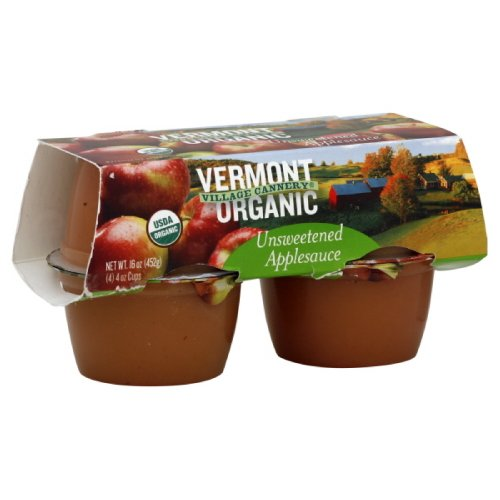 Vermont Village Applesauce Cups Unsweetened, 16-Ounce (Pack of 6) made in New England