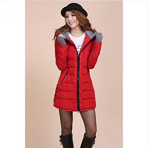 XXL Women's XL Winter Coat Padded New Paragraph Rose Long Down Slim O Winter Jacket Red d76xqwagq