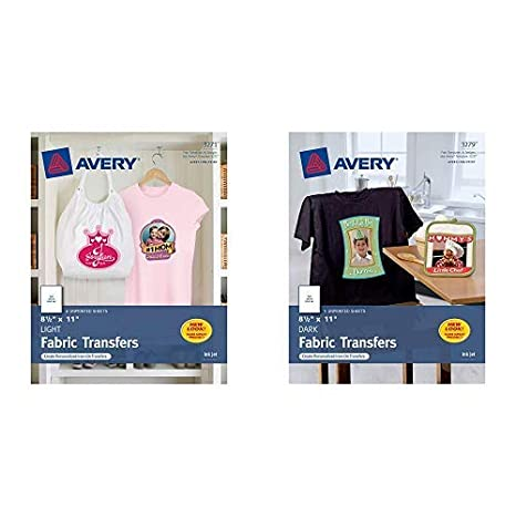 graphic about Printable Heat Transfer Paper called Avery Printable Warmth Go Paper, for employ the service of upon Darkish Materials, 8.5 x 11, Inkjet Printers, 5 transfers (3279) T-Blouse Transfers for Inkjet Printers,