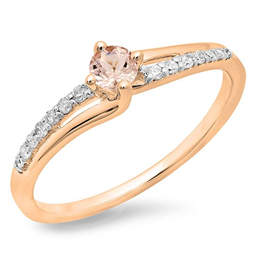 10K Rose Gold Round Cut Morganite & White Diamond Ladies Bridal Wave Promise Engagement Ring (Size 6)