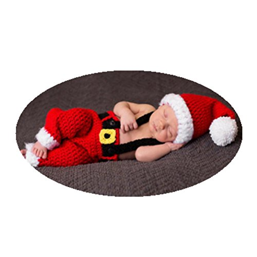 Newborn Baby Photography Props Baby Handmade Crochet Knitted Santa Claus Outfit Costume Hat Suspender Trousers -