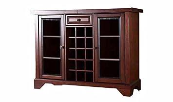 Aprodz Mango Wood Wine Storage Lance Stylish Bar Cabinet for Living Room | Honey Finish