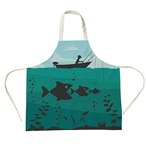 3D Printed Cotton Linen Big Pocket Apron,Fishing Decor,Single Man in Boat Luring with Bobbins Nautical Marine Sea Nature Funky Image,Blue Teal,for Cooking Baking Gardening -