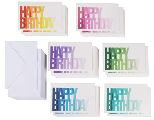 Birthday Cards Bulk - 144-Pack Birthday Cards Box Set, Happy Birthday Cards, 6 Colorful Ombre Designs with Blank on the Inside, Envelopes Included, 4 x 6 Inches