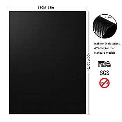 NETCAT Grill Mat- 100% Non-stick BBQ Grill & Baking Mats - FDA-Approved, PFOA Free, Reusable and Easy to Clean - Works on Gas, Charcoal, Electric Grill and More (6 Pcs Black) from NETCAT