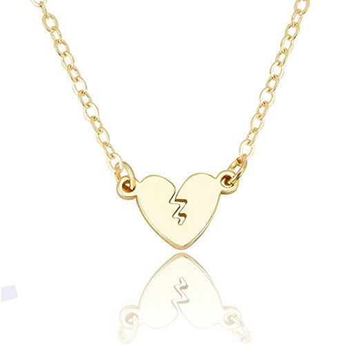 SENFAI 10k Gold Color Personality Broken heart Pendant Necklace (gold) (Broken Pendant Heart)