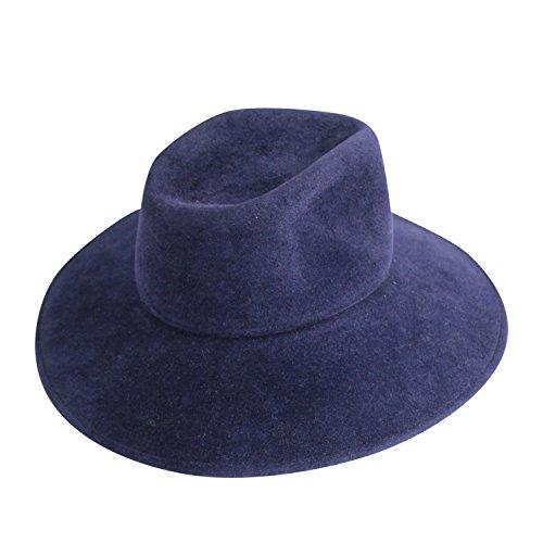 Lola Hats Womens Bookends Pom-Pom Fur Fedora Navy One Size -