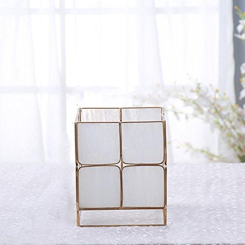 Vase Candle Stained Glass - Cyl Home Candle Lanterns Tiffany Stained Bubbled Glass Brass Frame Hanging Hurricane Tea Light Holder Lamp Cube Centerpiece Accent Gift Wedding Housewarming Tea Party, White, 6.9'' H x 5.9'' D
