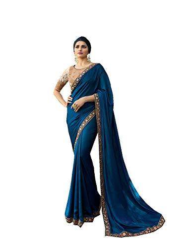 Delisa Fashion Indian Ethnic Bollywood Saree .Party Wear Saree,Pakistani Designer Sari Wedding, Saree for Womens (Blue)