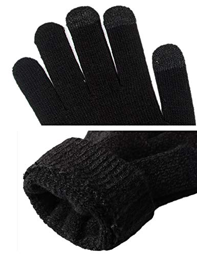 Beanie Hat Unisex Woman in nero con Abollria Scarf Man Knit Screen fodera pezzi Warm pile Beanie girocollo Well Winter 3 Glove Touch d5wOq6