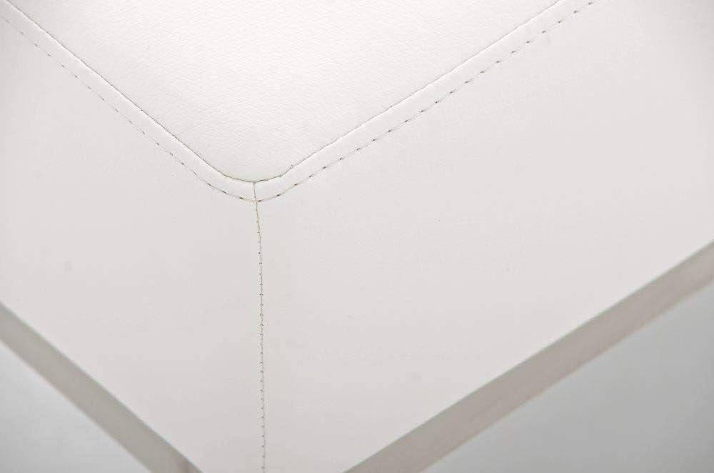 CLP Edelstahl-Sitzhocker LAMEGA I Hocker Mit Polsterung Und Kunstlederbezug I Sitzwürfel Mit Edelstahlgestell I In Vielen Farben, Farbe:orange Weiß
