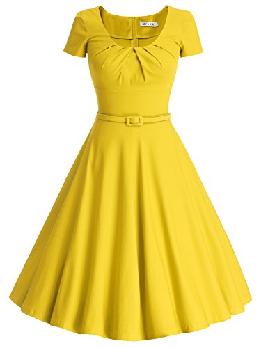 MUXXN Women's Pleated Neck Knee Length Causal Party Dress (L Yellow)