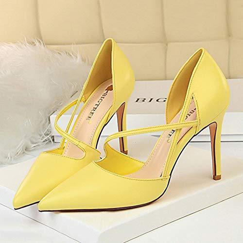 High Alto Moda Zapatos Elegantes Verano Mujer A Sandals Amarillo Novia Vestir De Heels Prom Tacón Fiesta Hueco Mezclado Minetom Sandalias Color Boda Cuero H4gqw
