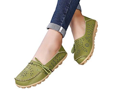 Verocara Kvinna Bekväm Läder Urholka Snörning Tillfälliga Platta Skor Kör Loafers Militärgrön