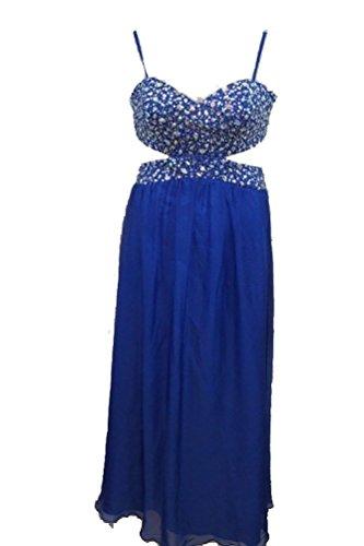 Evening Decode Embellished 1 Cutout Blue Royal 2 Chiffon 8 Gown Dress Formal qO4CHq