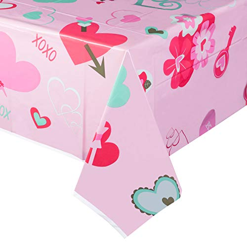Juvale 3-Pack Pink Hearts Plastic Tablecloth - Rectangle 54 x 108 Inch Disposable Table Cover, Fits Up to 8-Foot Long Tables, Love and Hearts Themed, Valentines Day Party Supplies, 4.5 x 9 Feet]()