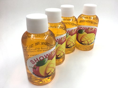 Handmade shower Gel, Mango Tango, travel size 4 pack 2 oz each