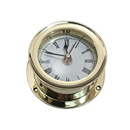Ship\'s Clock Solid Brass Nautical Ships Maritime Timekeeper