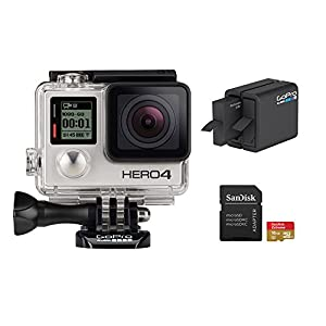GoPro HERO 4 Silver Edition 12MP Waterproof Sports & Action Camera Bundle with 2 Batteries, Dual Battery Charger, 16GB Micro SD Card, Standard & Skeleton Housing and 3-way Pivot Arm from Gopro