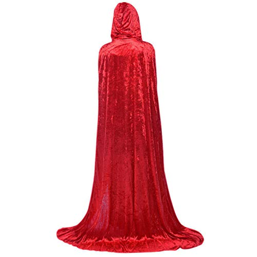 ALIZIWAY Hooded Cloak Full Long Velvet Cape for Halloween Cosplay Costume Cloak Red 06RM