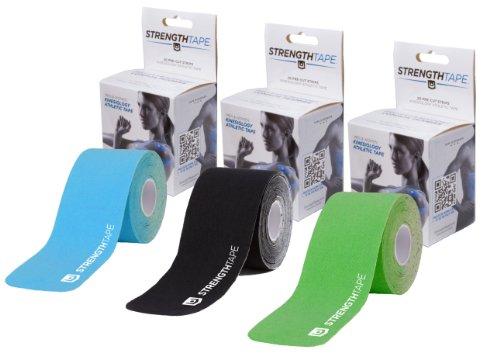 StrengthTape Precut Kinesiology Tape Roll of 20 Strips 3-Pack - Black/Hot Green/Light Blue