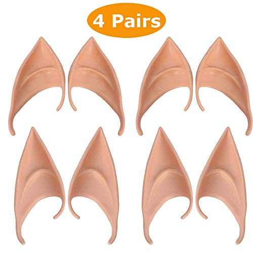 4 Pairs Soft Elf Ears Cosplay Pixie Pointed Ears for Anime Party Dress Up, Vampire, Costume Masquerade Accessories ()