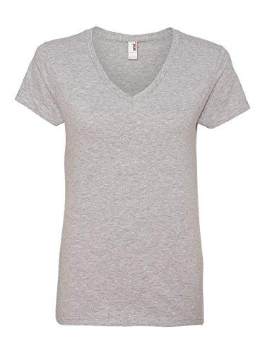 Anvil Ladies Missy Fit Ringspun V-Neck T-Shirt. 88VL Medium Heather (Anvil Heavyweight T-shirt)