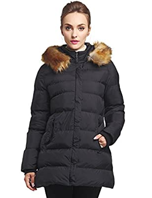 WenVen Women's Winter Thicken Puffer Coat with Fur Trim Removable Hood