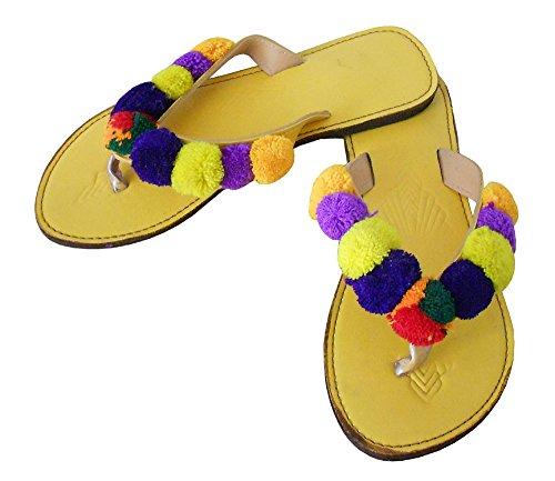 Zapatillas de para Kalra Indias Tradicionales Amarillo Creations Mujer Piel 4RnqzZFUqW