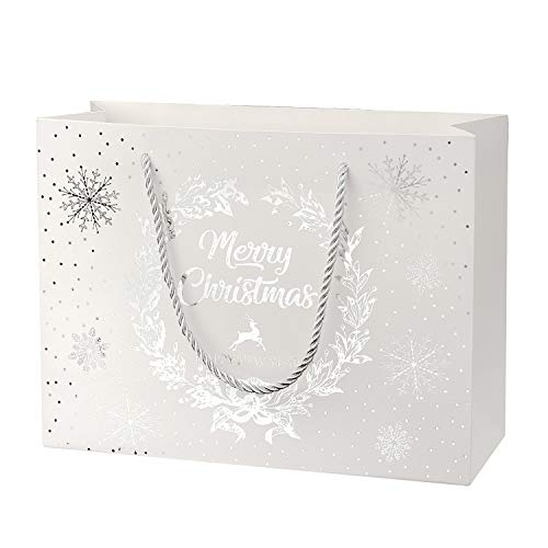 Crisky Merry Christmas & Happy New Year Gift Bags, Foil Silver, 11 x 8 x 4, Medium Bags 12 Pcs