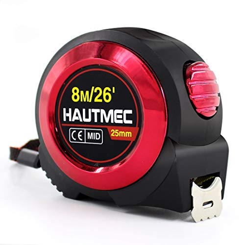 Auto Lock Measuring Tape - HAUTMEC Pro Heavy Duty Auto-Lock 8M Tape Measure - Inches and Metric Double Measurement - 25mm Wide Nylon Coated Measuring Blade, with Impact Resistant Soft Rubber Cover, Wrist Strap HT0019-TA