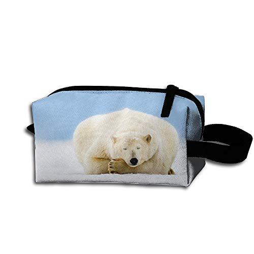 Clash Durable Zipper Wallet Makeup Handbag With Wrist Band Lazy Snow Polar Bear Toiletry Bag -