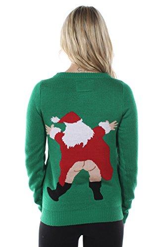 Tipsy Elves Women's Censored Santa Tacky Christmas Sweater