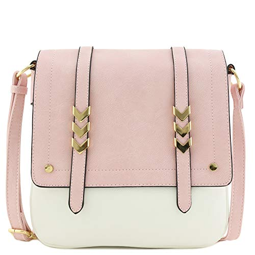 Double Compartment Large Two-Tone Colorblock Flapover Crossbody Bag Blush/White ()