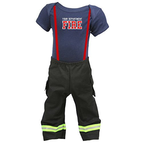 Firefighter Baby Outfit Pant and Shirt BLACK with Yellow Reflective (18 (Fireman Costume Pants)
