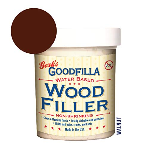 - Water-Based Wood & Grain Filler - Walnut - 8 oz by Goodfilla | Replace Every Filler & Putty | Repairs, Finishes & Patches | Paintable, Stainable, Sandable & Quick Drying