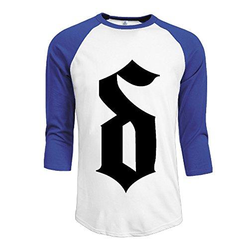 Mens Shinedown 100% Cotton 3/4 Sleeve Athletic Raglan Sleeves T-Shirt RoyalBlue US Size S