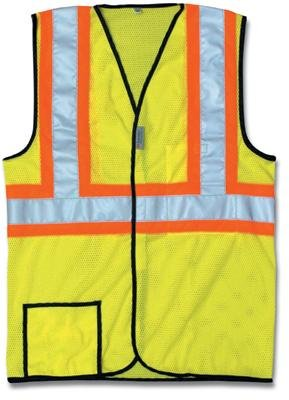 Large Hi-Viz Yellow OccuLux Premium Light Weight Cool Polyester Mesh Class 2 Two-Tone Vest With Front Hook And Loop Closure And 3M Scotchlite 2'' Reflective Tape, 7.67 fl. oz. (Occulux Standard Safety Vests)