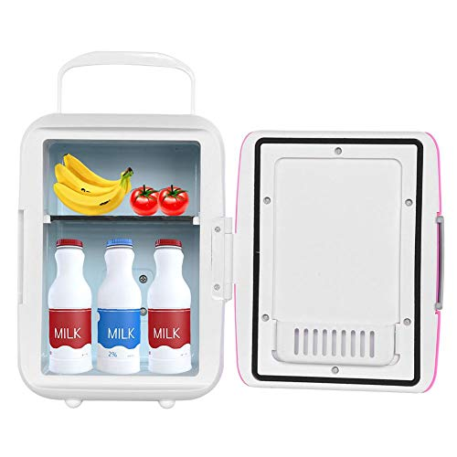 Beverage Fridge Mini Fridge Retro Mini Compact Beverage Refrigerator Compact Cooler/Warmer Mini Fridge for Cars Trips Homes Dorms(Pink)