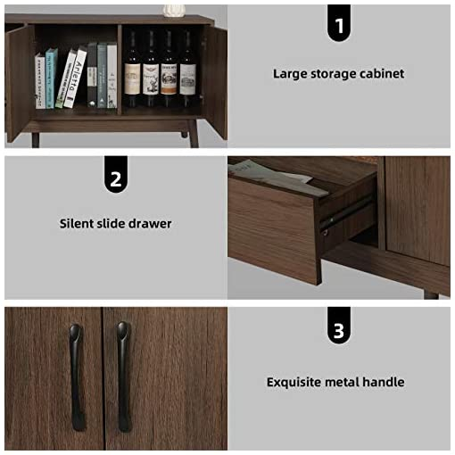 """Living Room Mid-Century Modern Wooden TV Stand for TVs up to 65"""", Media Game Console for Flat Screen TV Living Room Bedroom, with 2… modern tv stands"""