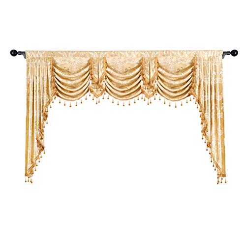 Valance Jacquard Curtain - elkca Golden Jacquard Swag Waterfall Valance Luxury Curtain Valance for Living Room (Damask-Golden, W79 Inch, 1 Panel)